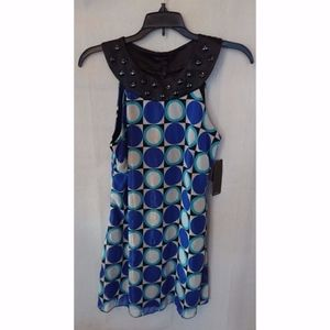 Vintage Blue & White Circle & Square Rampage Dress